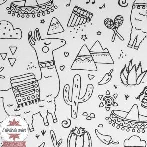 Tissu coton à colorier Lama et cactus - Oeko-Tex