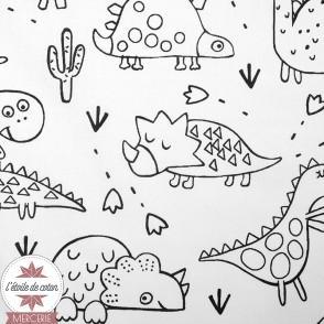 Tissu coton à colorier Dinosaures - Oeko-Tex