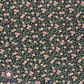 Tissu coton Joanne ivoire/rose (Oeko-Tex)