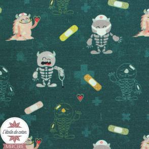 Tissu popeline de coton BIO - Monstre et pansement