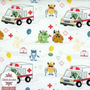 Tissu popeline de coton BIO - Monstre et ambulance