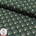 Tissu coton Ginza nuit/bronze - Oeko-Tex