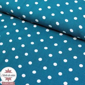 Tissu viscose pois - bleu