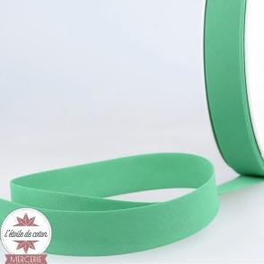 Biais uni polycoton 20 mm - vert d'eau