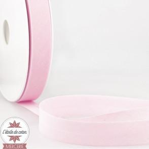 Biais uni polycoton 20 mm - rose pâle