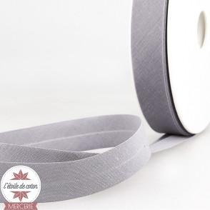 Biais uni polycoton 20 mm - gris bleuté