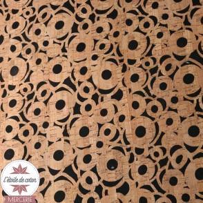 Coupon 50 x 68 cm - Tissu liège véritable ronds sur fond jean