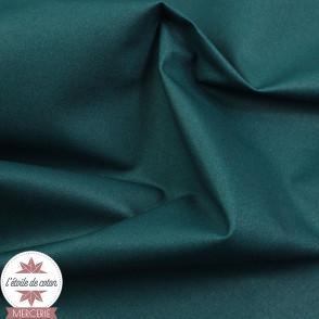 Coton enduit uni vert paon - Oeko-Tex