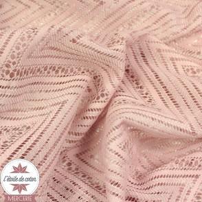 Tissu dentelle chevron vieux rose