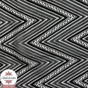 Tissu dentelle chevron noir