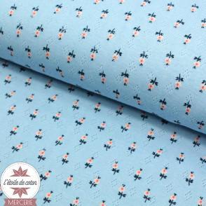 Jersey maille ajourée Sweet Flowers by Poppy - bleu ciel - Oeko-Tex