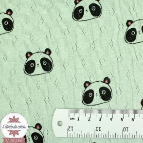 Jersey maille ajourée Sweet Panda by Poppy - vert amande - Oeko-Tex