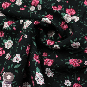 Tissu viscose fleurie noir brodé fleurs blanches