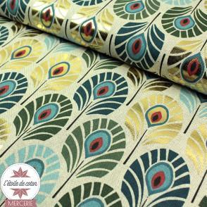 Tissu toile polycoton Plumes de Paon - bleu/vert/or