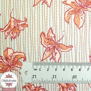 Tissu satiné Fleurs de Lys orange & céladon by Pénélope