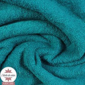 Tissu éponge coton - bleu océan