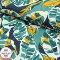 Tissu lin lavé Feuilles vert/jaune