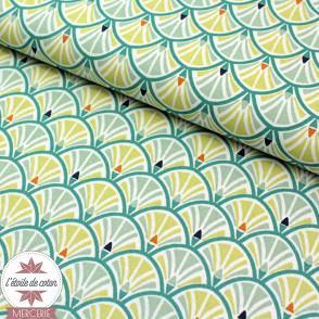 Tissu coton Jacinthe vert jade/absinthe - Oeko-Tex