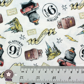 Tissu coton BIO - Harry Potter - Poudlard Express