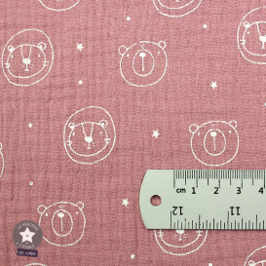 Tissu double gaze de coton Nounours - rose (Oeko-Tex)