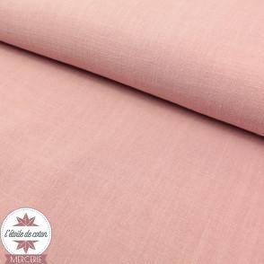 Tissu lin viscose - rose thé - Oeko-Tex