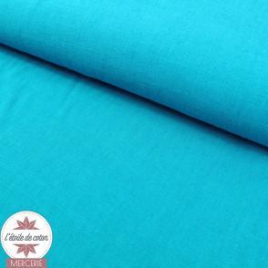 Tissu lin viscose - océan - Oeko-Tex