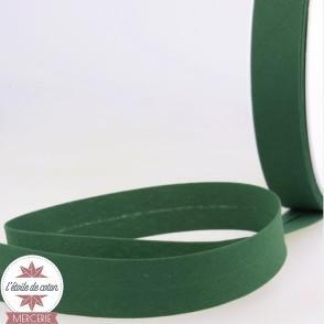 Biais uni polycoton 20 mm - vert bouteille