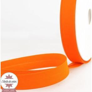 Biais uni polycoton 20 mm - orange carotte