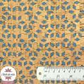 Coupon 50 x 68 cm - Tissu liège véritable losanges sur fond jean