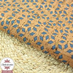 Tissu liège véritable - losanges sur fond jean