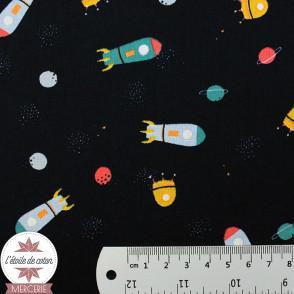 Popeline de coton Espace by Poppy bleu marine - Oeko-tex
