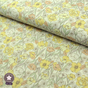 Tissu japonais Kokka - coton fleuri Closet Garden