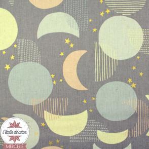 Tissu japonais Kokka - Lune & étoile - toile canvas