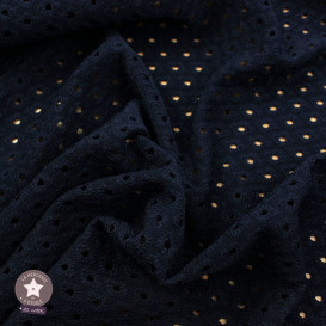 Tissu Eyelet maille ajourée - bleu marine