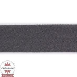 Biais jersey coton noir 20 mm