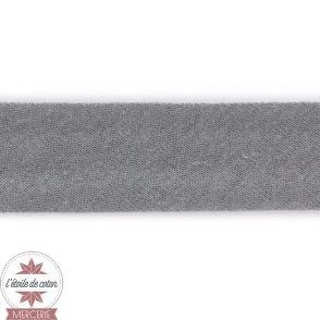 Biais jersey coton gris anthracite 20 mm