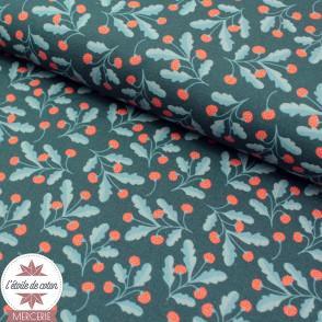 Tissu popeline de coton BIO - Mini fraisier sur fond vert