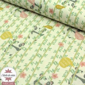 Tissu popeline de coton BIO - Protect Nature