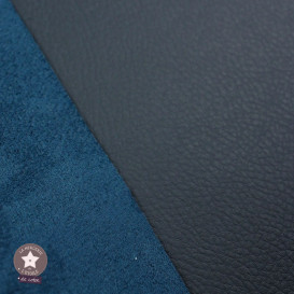Simili cuir double face bleu daim - coupon 50 x 70 cm
