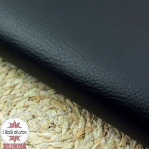 Simili cuir double face noir daim - coupon 50 x 70 cm