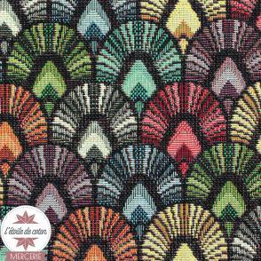 Tissu jacquard gobelin Plume de paon - multicolore