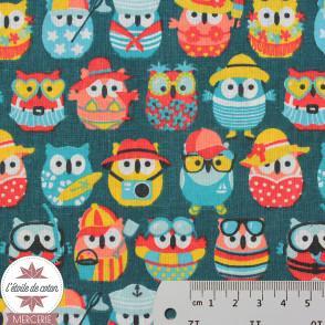 Tissu coton Mini Hiboux - multicolore (Oeko-Tex)