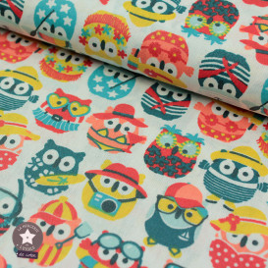 Tissu coton Mini Hiboux d'été - canard (Oeko-Tex)
