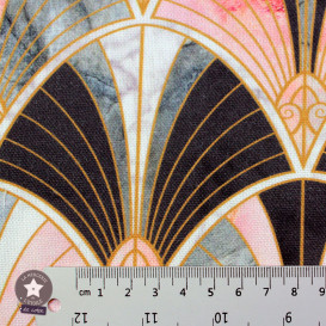 Tissu toile polycoton Eventail amande lurex or