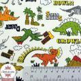 Tissu oxford Kokka - dinosaure vintage