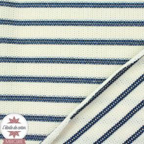 Tissu maille tricot écru rayures bleues
