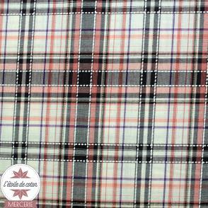 Tissu coton/viscose à carreaux rose-marron-écru