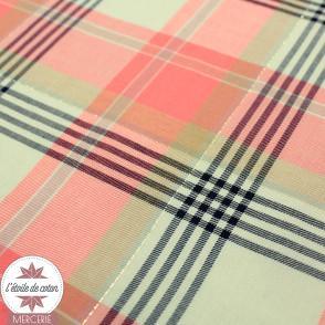Tissu coton/viscose à carreaux corail-beige-marine