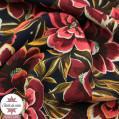 Tissu viscose pivoine - corail-marine