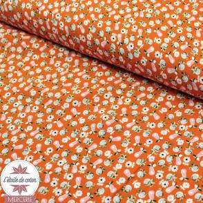 Tissu viscose verger - orange